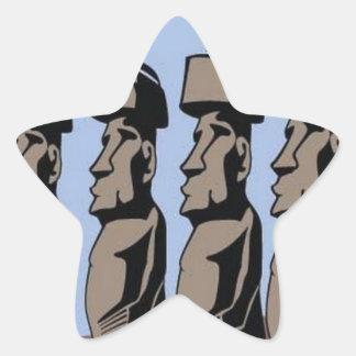 Rapa nui island statues star sticker
