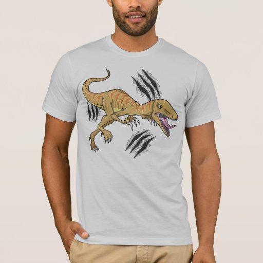 Rapaz del dinosaurio que rasga la camiseta de la