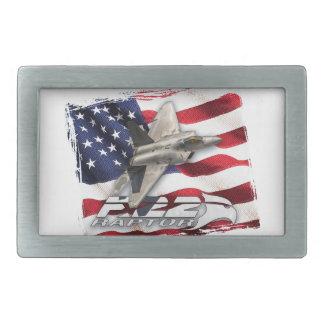 Rapaz F-22 y bandera americana Hebilla Cinturón Rectangular