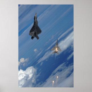 Rapaz F-22 y F-15 Eagle Poster