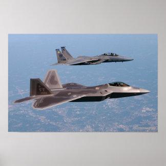 Rapaz F-22 y F-15 Eagle Póster