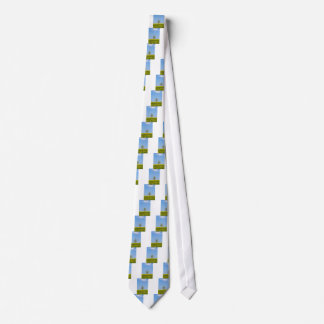 Rapeseed field with apple tree and blue sky neck tie