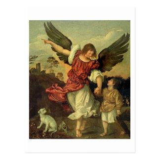 Raphael and Tobias, 1507-8 (oil on panel) Postcard