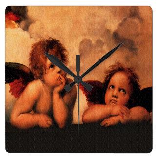 Raphael Angelic Cherubs Square Wall Clock