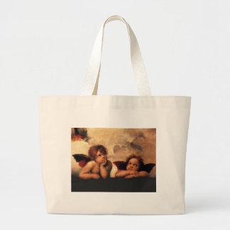 Raphael Cherubs Sistine Madonna 2 Angels Large Tote Bag