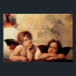 "Raphael Cherubs Sistine Madonna Poster<br><div class=""desc"">Raphael Cherubs Sistine Madonna poster. Oil painting altarpiece from 1513-1514. The cherubim (putti) from Raphael's Sistine Madonna rank among the artist's most recognized work. The two cherubs are arguably the most famous angel representations in the world. The wistful gaze of the two winged angels has charmed audiences for centuries. A...</div>"