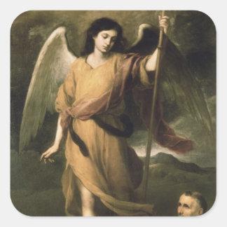 Raphael del arcángel con obispo Domonte Calcomanía Cuadradase