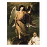 Raphael del arcángel con obispo Domonte Postal