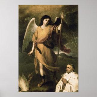 Raphael del arcángel con obispo Domonte Póster