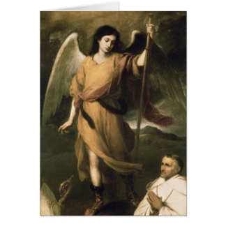 Raphael del arcángel con obispo Domonte Tarjeta De Felicitación