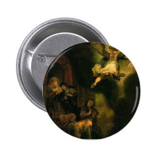 Raphael del arcángel de Rembrandt que toma licenci Pin Redondo De 2 Pulgadas