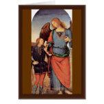 Raphael del arcángel y Tobias pequeños Tarjetas
