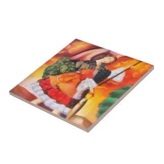 Raphael del santo del arcángel azulejo cuadrado pequeño