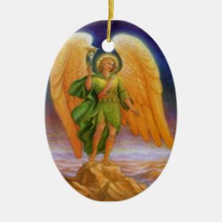 Raphael del santo y rezo adorno navideño ovalado de cerámica