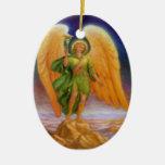Raphael del santo y rezo adorno ovalado de cerámica