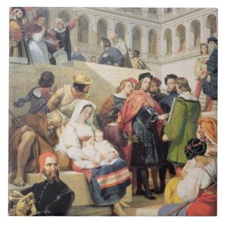 Raphael en el Vatican, 1832 (aceite en lona) Azulejo Cuadrado Grande
