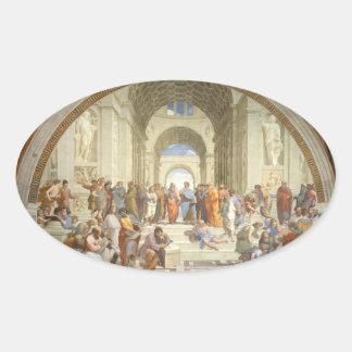 Raphael - Escuela de Atenas Pegatina Oval Personalizadas