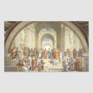 Raphael - Escuela de Atenas Pegatina Rectangular