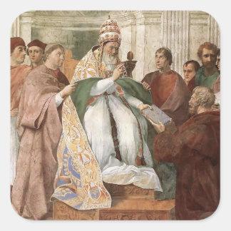 Raphael: Gregorio IX que aprueba el Decretals Calcomanías Cuadradas Personalizadas