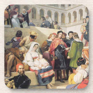 Raphael in the Vatican, 1832 (oil on canvas) Beverage Coaster