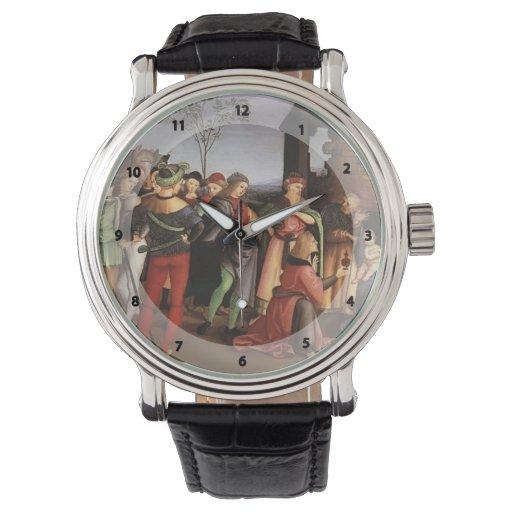 Raphael la adoración de unos de los reyes magos relojes de mano