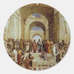 """Raphael """"la escuela de Atenas"""" (circa 1511) Pegatinas Redondas"""