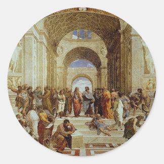 """Raphael """"la escuela de Atenas"""" (circa 1511) Pegatina Redonda"""