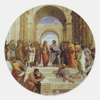 """Raphael """"la escuela detalle de Atenas"""" circa 1511 Pegatina Redonda"""