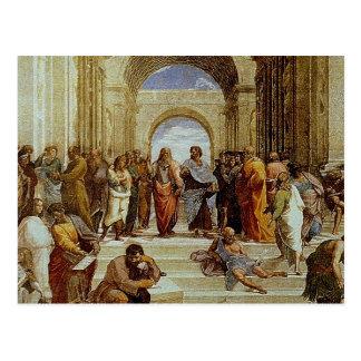 """Raphael """"la escuela detalle de Atenas"""" circa 1511 Tarjetas Postales"""
