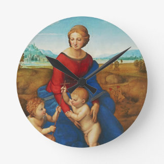 Raphael: Madonna in the Meadow Round Clock