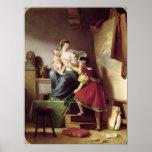 Raphael que ajusta la actitud de su modelo el suyo póster