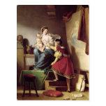 Raphael que ajusta la actitud de su modelo el suyo tarjetas postales