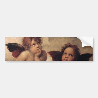 Raphael querube de Sistine Etiqueta De Parachoque