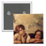 Raphael, querube de Sistine Pin Cuadrado