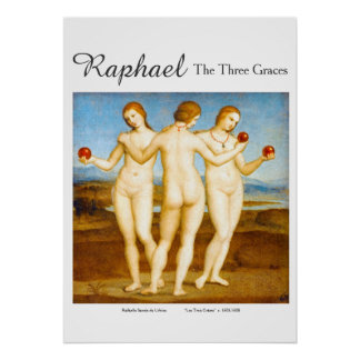 Raphael Restored Classic The Three Graces Painting Poster