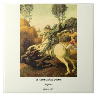 """Raphael """"San Jorge y el dragón"""" (circa 1505) Azulejo Cuadrado Grande"""