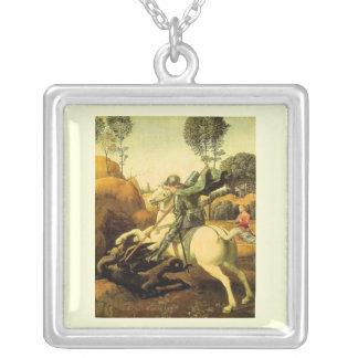 """Raphael """"San Jorge y el dragón"""" (circa 1505) Colgante Cuadrado"""
