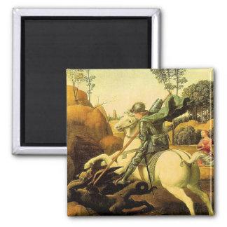 """Raphael """"San Jorge y el dragón"""" (circa 1505) Imán Cuadrado"""