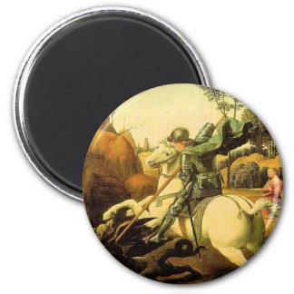 """Raphael """"San Jorge y el dragón"""" (circa 1505) Imán Redondo 5 Cm"""