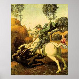 """Raphael """"San Jorge y el dragón"""" (circa 1505) Poster"""