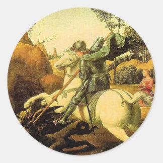 """Raphael """"San Jorge y el dragón"""" (circa 1505) Pegatina Redonda"""