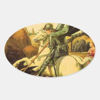 """Raphael """"San Jorge y el dragón"""" (circa 1505) Calcomanía Ovalada"""