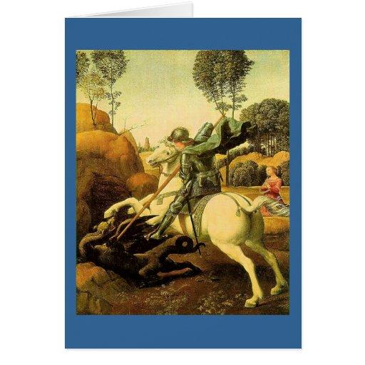 """Raphael """"San Jorge y el dragón"""" (circa 1505) Tarjeta De Felicitación"""