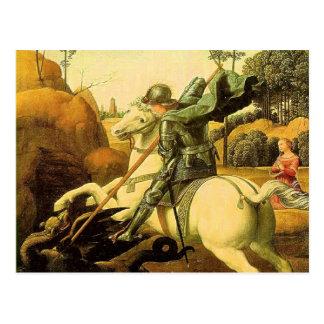 """Raphael """"San Jorge y el dragón"""" (circa 1505) Tarjetas Postales"""