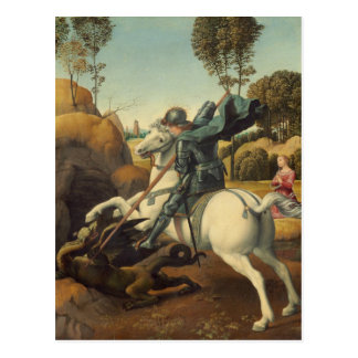 Raphael - San Jorge y el dragón Tarjeta Postal