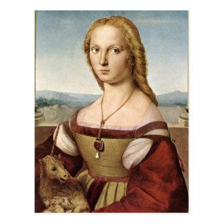 Raphael Sanzio - señora With un unicornio Tarjetas Postales