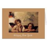 Raphael,Sistine Cherub, Happy New Year Stationery Note Card
