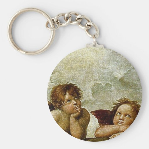"Raphael ""Sistine Madonna"" (circa 1513) (detalle) Llavero Redondo Tipo Pin"
