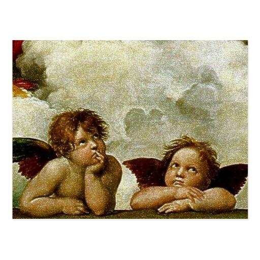 "Raphael ""Sistine Madonna"" (circa 1513) (detalle) Postales"