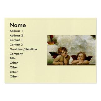 """Raphael """"Sistine Madonna"""" (circa 1513) (detalle) Plantillas De Tarjeta De Negocio"""